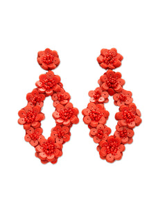 Red Flower Sequin Diamond Earrings