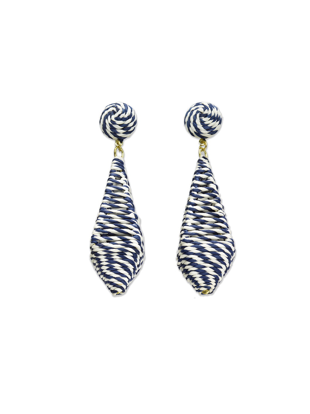 Navy & White Cage Diamond Drop Earrings