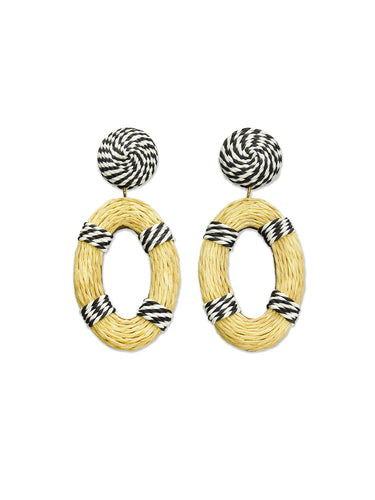 Navy & White Stripe Raffia Oval Earrings
