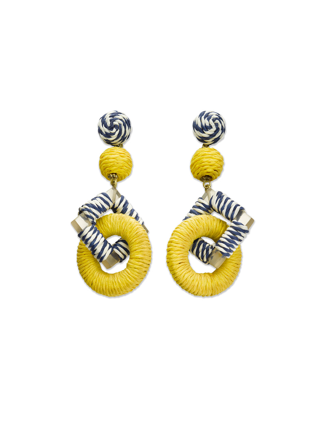 Yellow, Navy & White Stripe Square & Circle Earrings