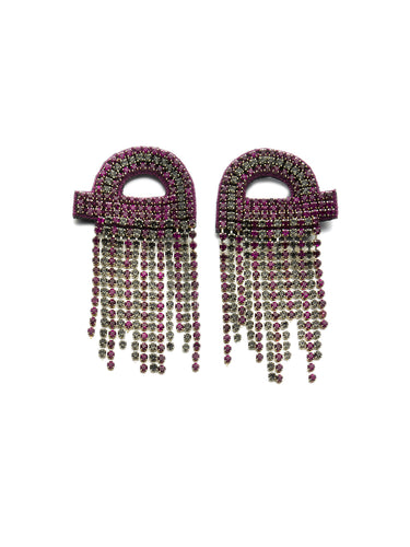 Purple & Black Crystal Loop Drop Chain Earrings