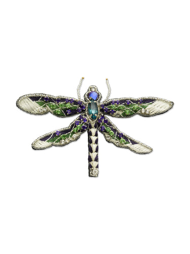 Green & Blue Embroidered Double Wing Dragonfly Brooch