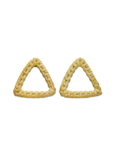 Tan Woven Triangle Earrings