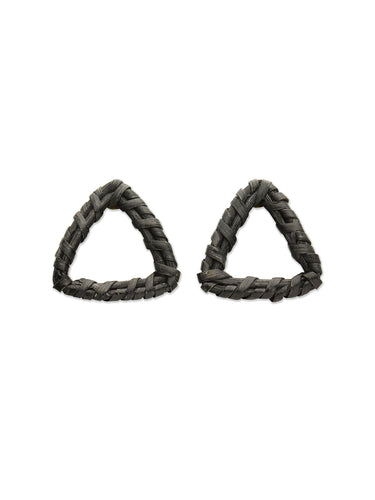 Black Woven Triangle Earrings