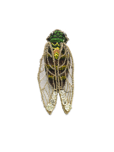 Mesh Wing Embroidered Cicada Brooch