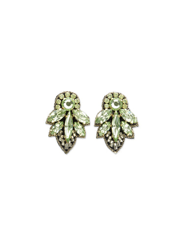 Mint Mini Crystal Leaf Earrings
