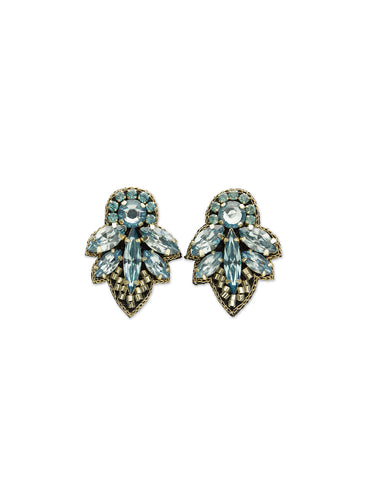 Aqua Mini Crystal Leaf Earrings