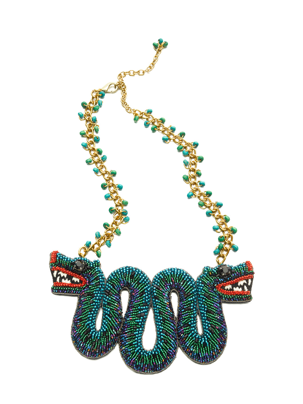 Blue Embroidered Serpent Necklace