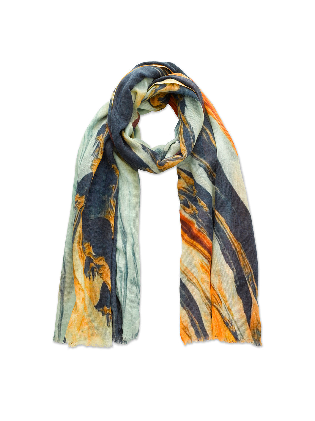 Blue and Orange Paint Swirl Scarf