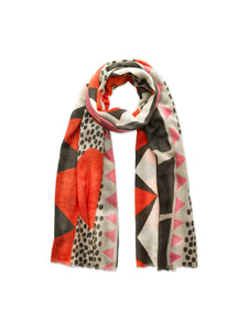Red, Pink Collage Print Scarf