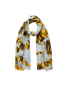 Yellow and Blue Scribble Scarf