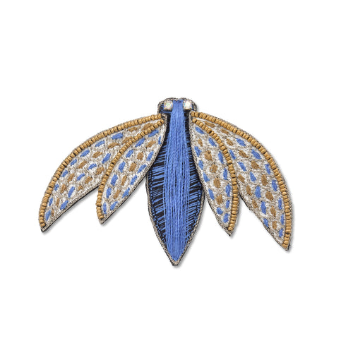Stitched Blue and Gold Fly Brooch
