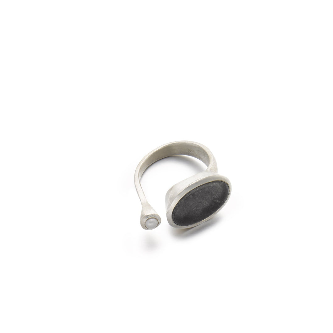 Black Pebble & Pearl Open Ring