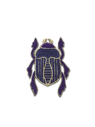 Blue & Gold Scarab Brooch