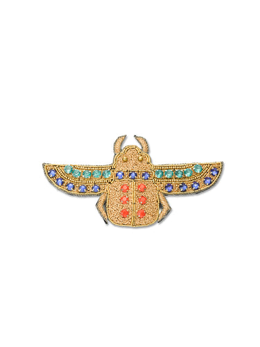 Gold Jewelled Flying Scarab Brooch