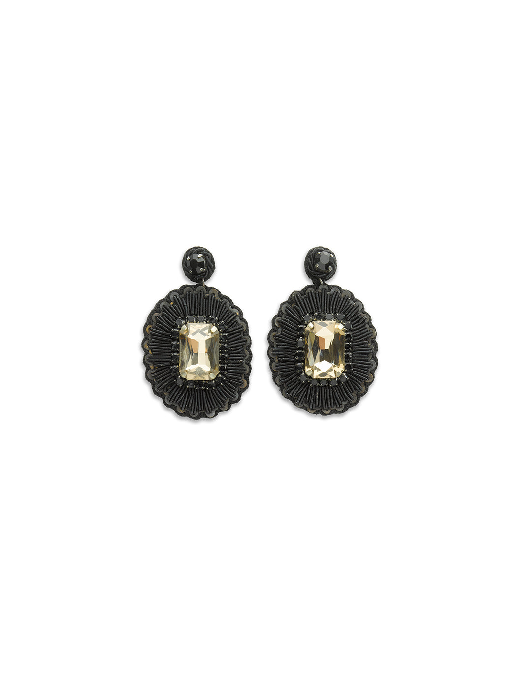 Black Central Stone Earrings