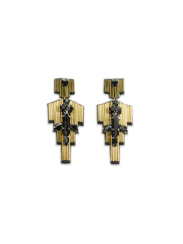 Black & Gold Deco Beaded Earrings