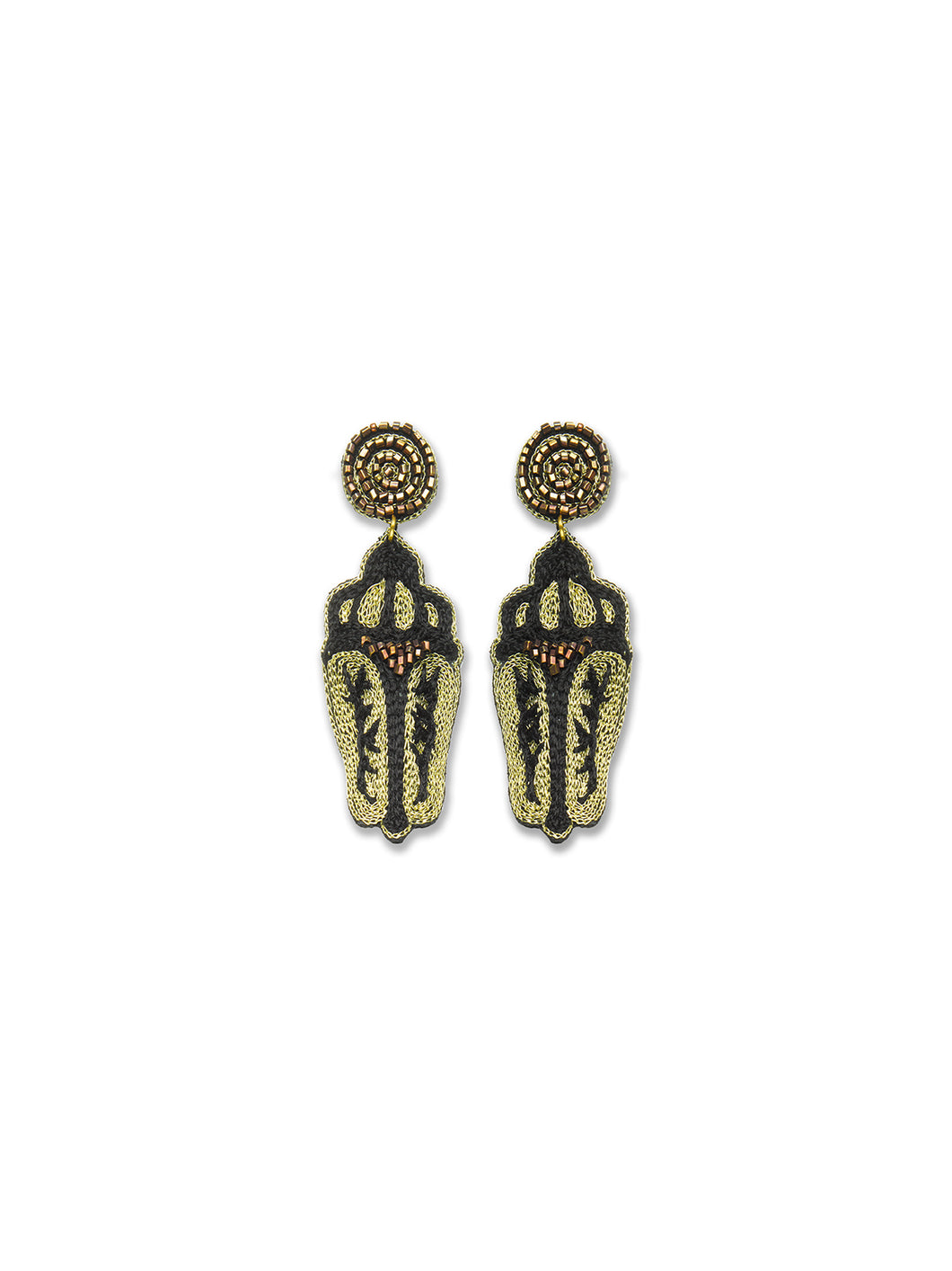 Black & Gold Scarab Beetle Earrings