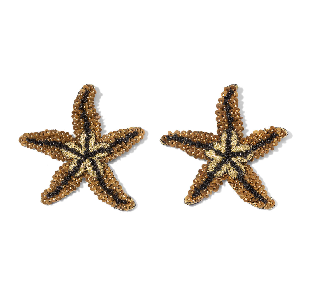 Black & Gold Starfish Earrings