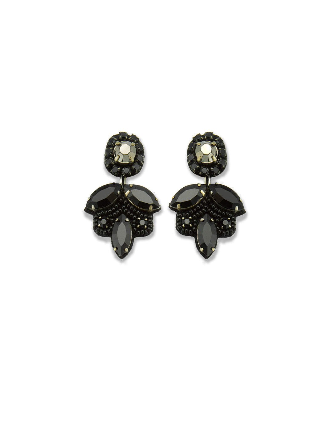 Black Crystal Leaf Drop Earrings