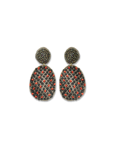 Black & Red Check Beaded Earrings