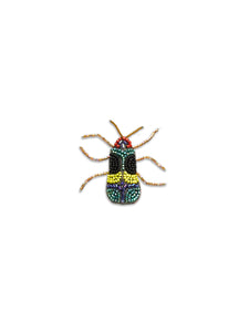 Black, Yellow & Blue Beaded Bug Brooch