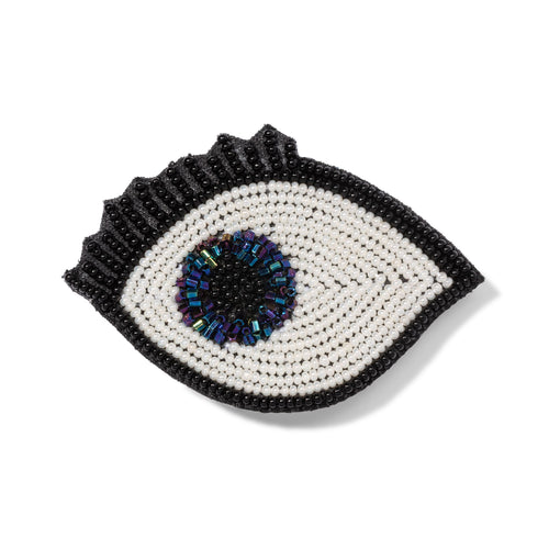 Embroidered Blue Eye Brooch