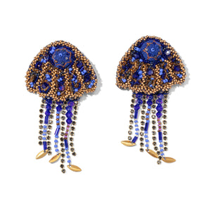Blue & Gold Embroidered Jellyfish Earrings