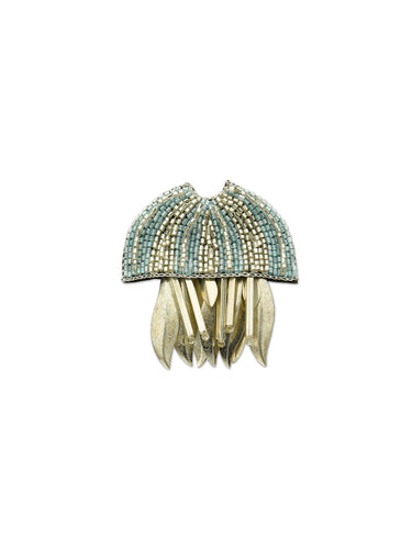 Silver & Blue Jellyfish Brooch