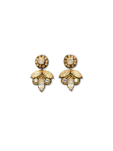 Champagne Crystal Leaf Drop Earrings
