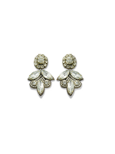 Clear Crystal Leaf Drop Earrings