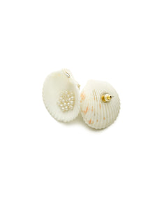 Cockle Shell & Faux Pearl Stud Earrings