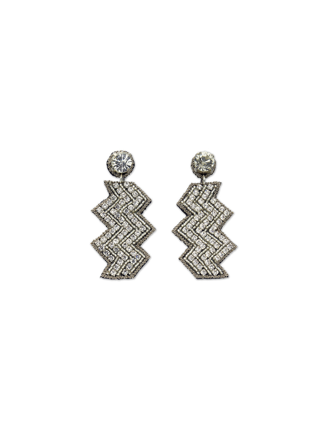 Zig-Zag Crystal Earrings