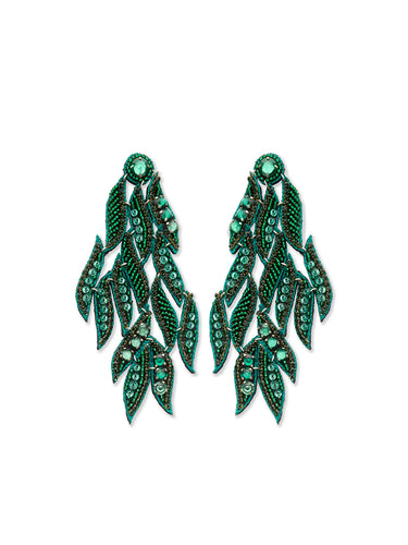 Emerald Cosmos Chandelier Earrings