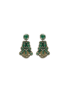 Emerald Fan Drop Earrings