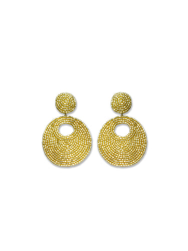 Gold Shimmer Beaded Clip Earrings