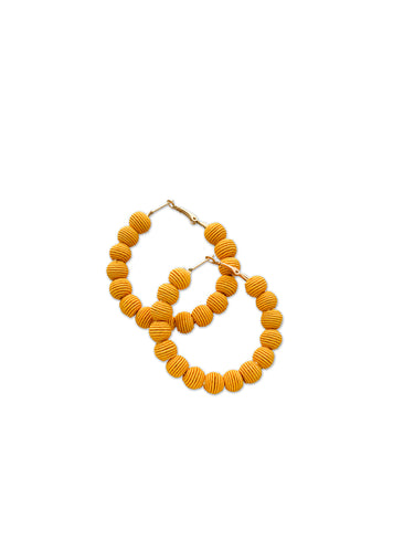 Golden Yellow Woven Ball Hoop Earrings