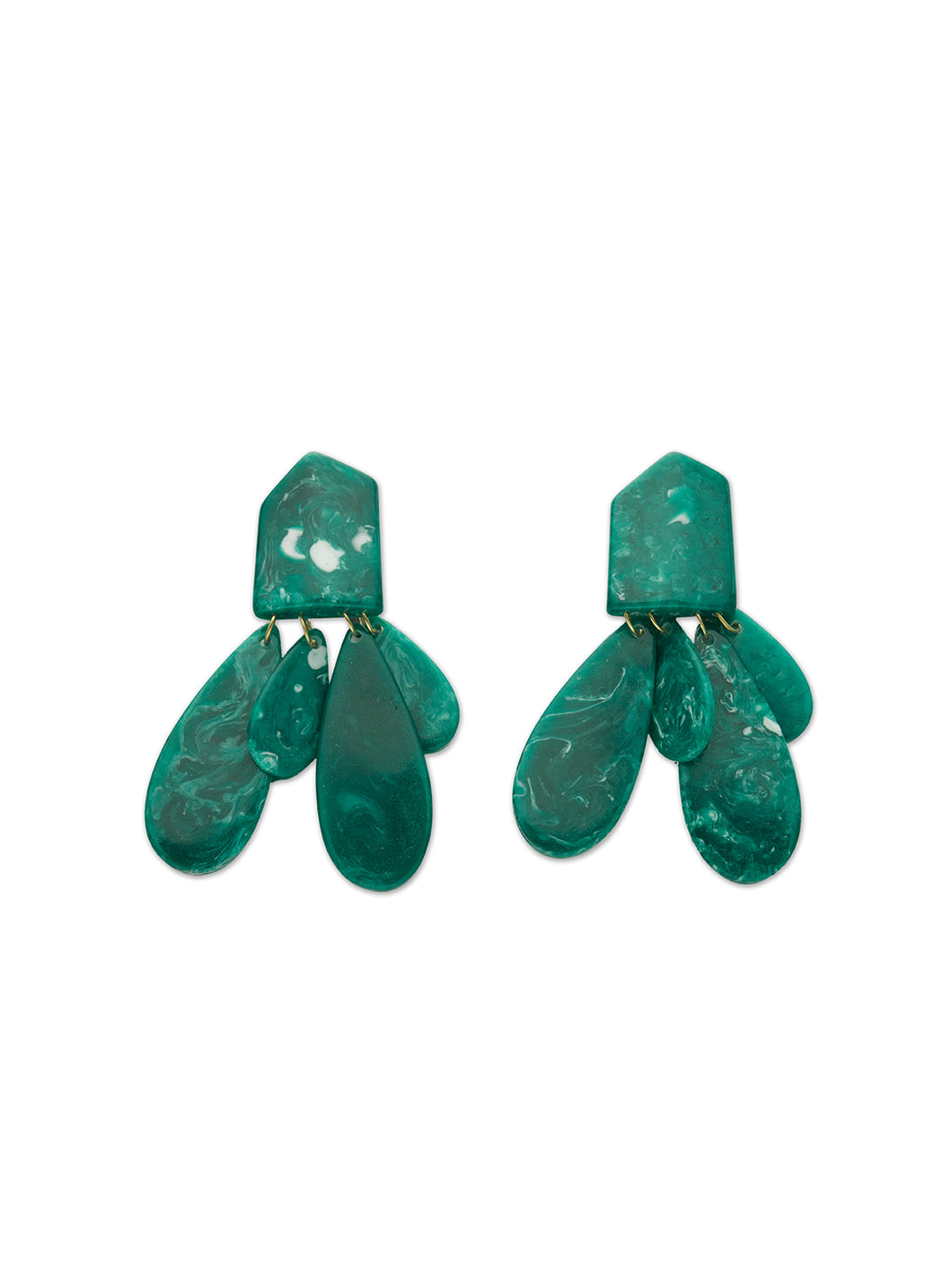 Malachite Green Resin Multi Drop Earrings