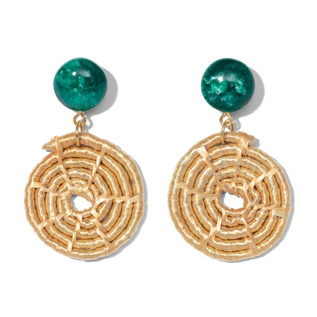 Malachite Green Resin & Raffia Maze Earrings