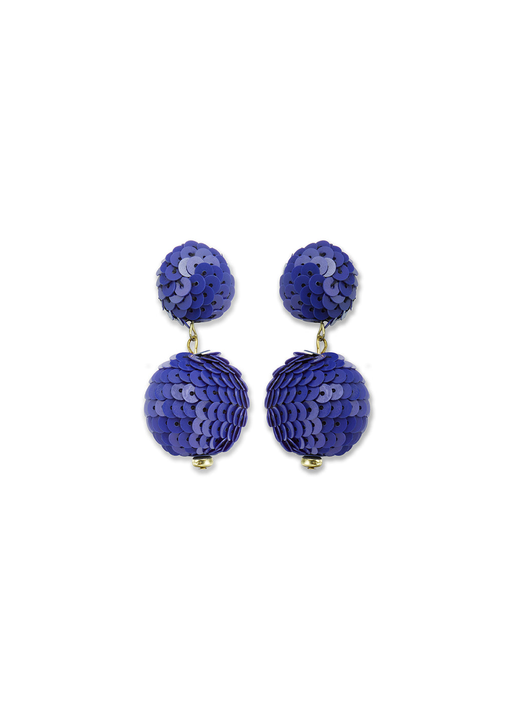 Klein Blue Disco Sequin Drop Earrings