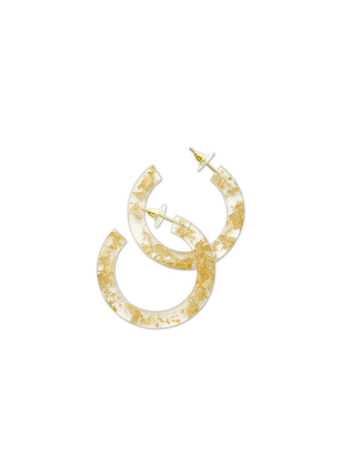 Large Gold Leaf & Resin Hoop Earrings