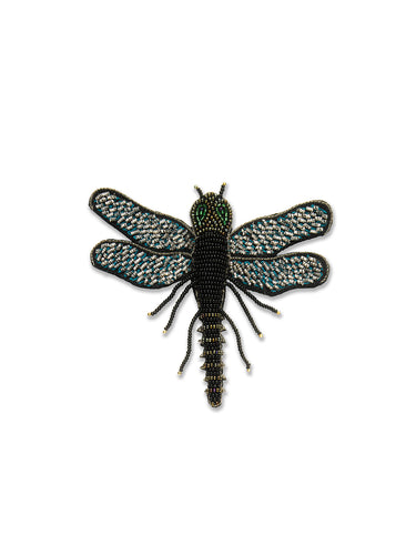 Black Metallic Dragonfly Brooch