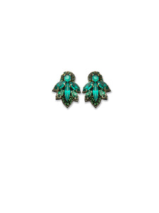 Mini Emerald Crystal Earrings