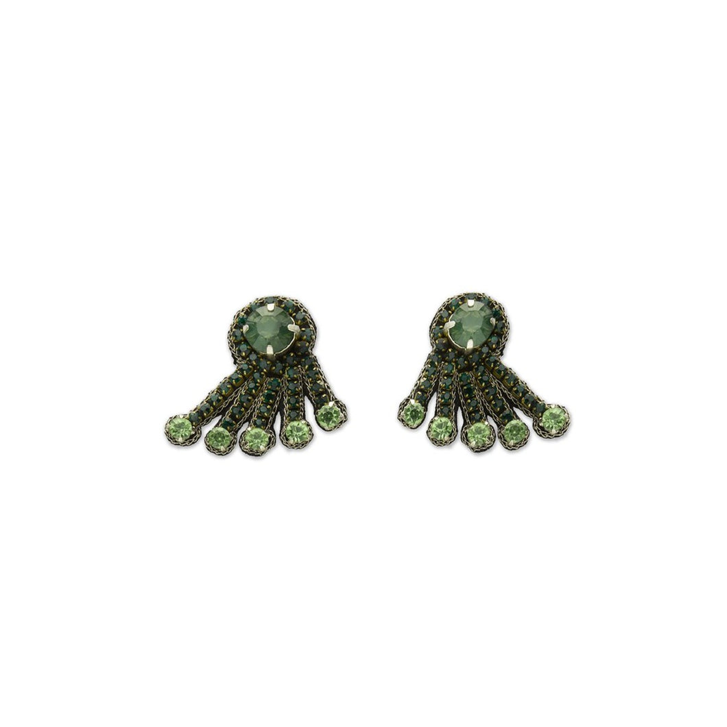 Green Crystal Spray Earrings
