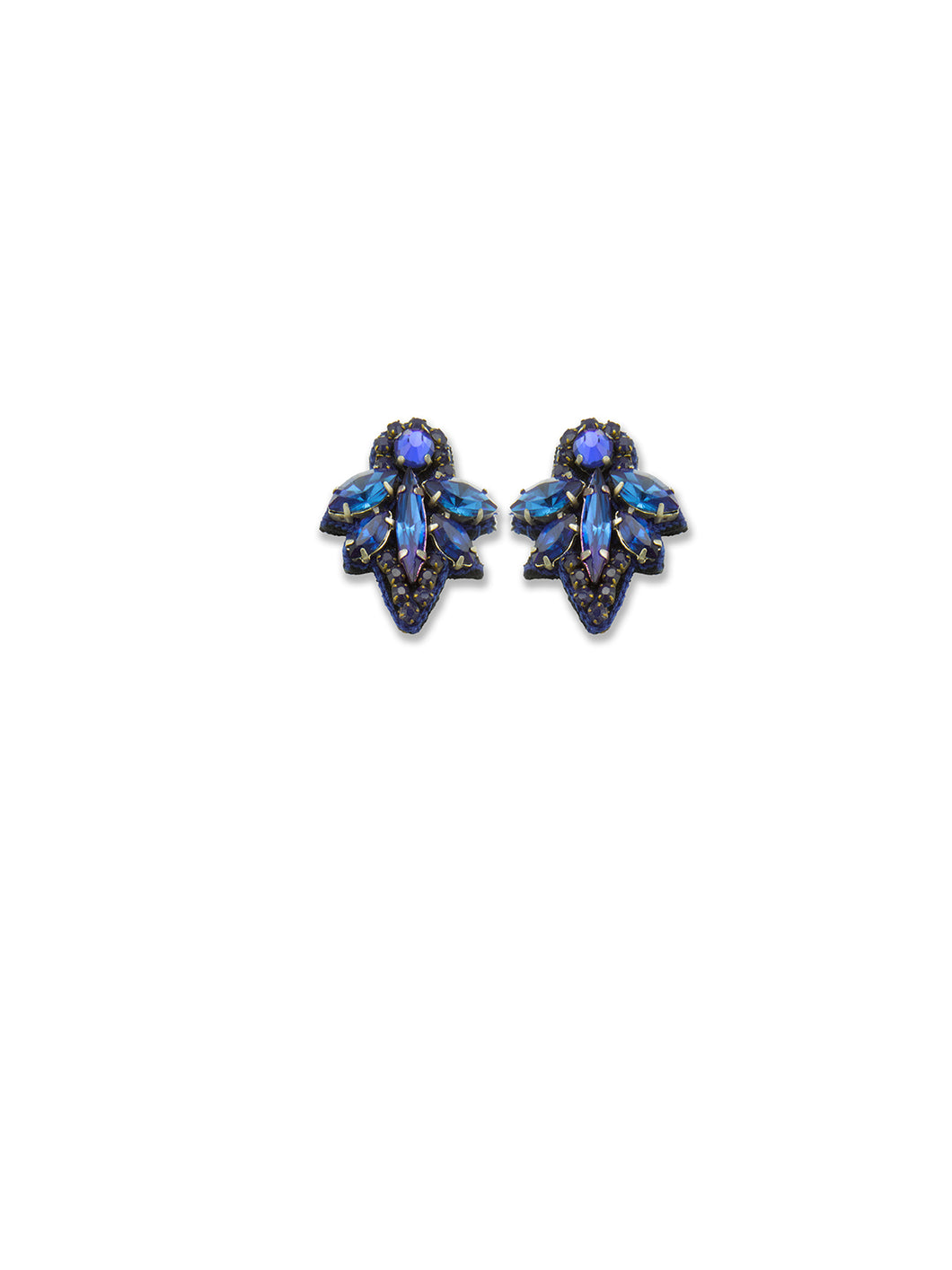 Sapphire Mini Crystal Leaf Earrings