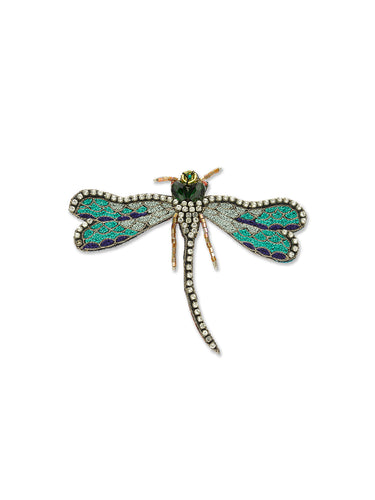 Mint Green Crystal Dragonfly Brooch