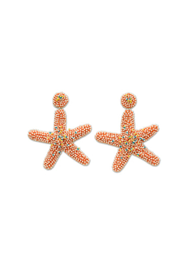 Orange & White Starfish Earrings