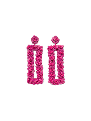Orchid Sequin Flower Rectangle Earrings