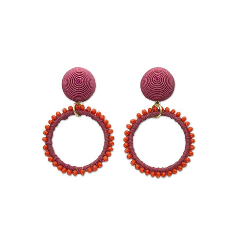 Red & Orchid Beaded Loop Earrings