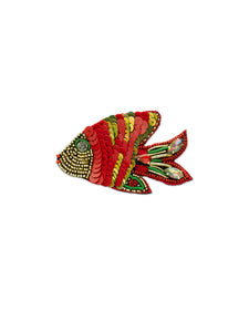 Red & Green Fish Brooch